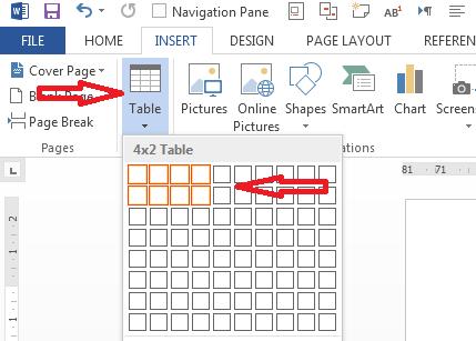 رسم جدول در ورد 2